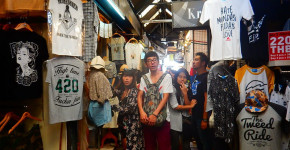 things to do in Bangkok : Chatuchak market clothes and travelers by Love Thai Maak