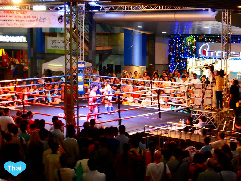 Things to do in Bangkok by Love Thai Maak | Free Muay Thai at MBK Fight Night enjoy kick boxing with the local corwd