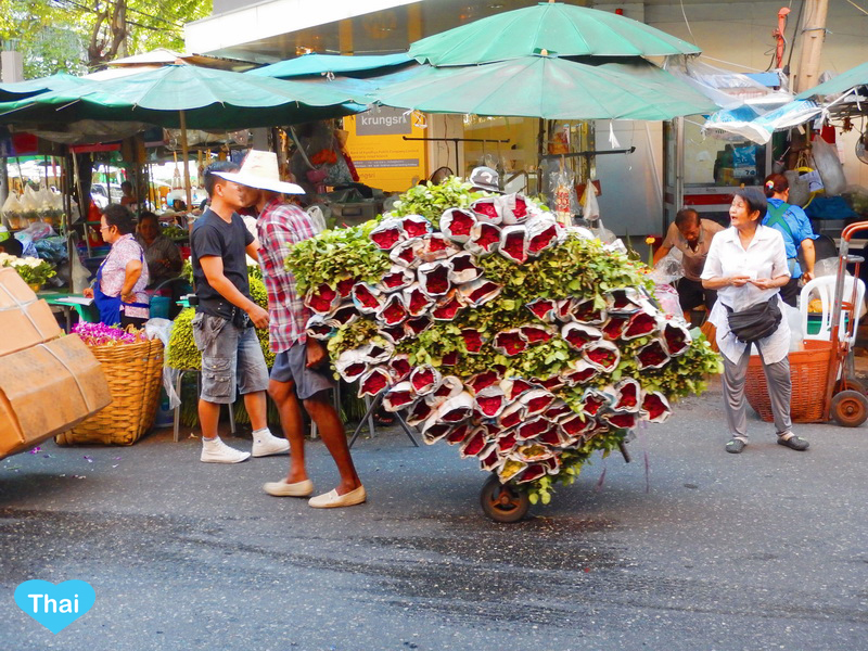 Things To Do In Thailand: Bangkok's Biggest Flower Market Pak Khlong Talat Thai Local Carries Ton of Roses